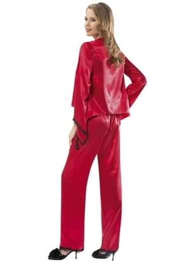 For Dreams Elviga Saten Pijama Takım Kırmızı